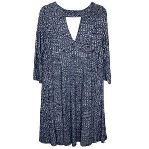 Torrid Long Sleeve V Cutout Blue Knit Swing Dress